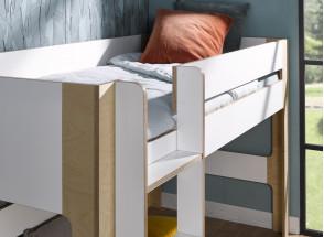 Lit mi-hauteur 90x190 SYMI – Blanc/Bouleau Nateo Concept - 3