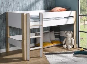 Lit mi-hauteur 90x190 SYMI – Blanc/Bouleau Nateo Concept - 1