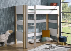 Lit mezzanine 90x190 SYMI – Blanc/Bouleau Nateo Concept - 1
