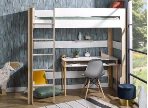 Lit mezzanine 90x190 SYMI – Blanc/Bouleau Nateo Concept - 2