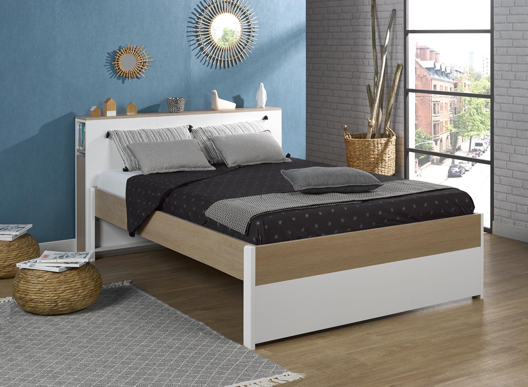 Lit double 140x200 avec tête de lit PRADO Nateo Concept - 1