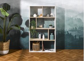 Bibliothèque 8 cases SYMI – Blanc/Bouleau Nateo Concept - 1