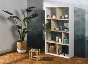 Bibliothèque 8 cases SYMI – Blanc/Bouleau Nateo Concept - 2